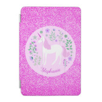 Unicorn Pink Glitter Personalized Name iPad Mini Cover