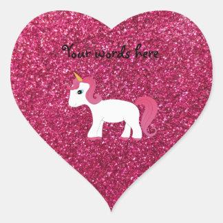 Unicorn pink glitter heart sticker