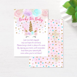 Unicorn Pink & Gold Baby Shower Book Request Cards