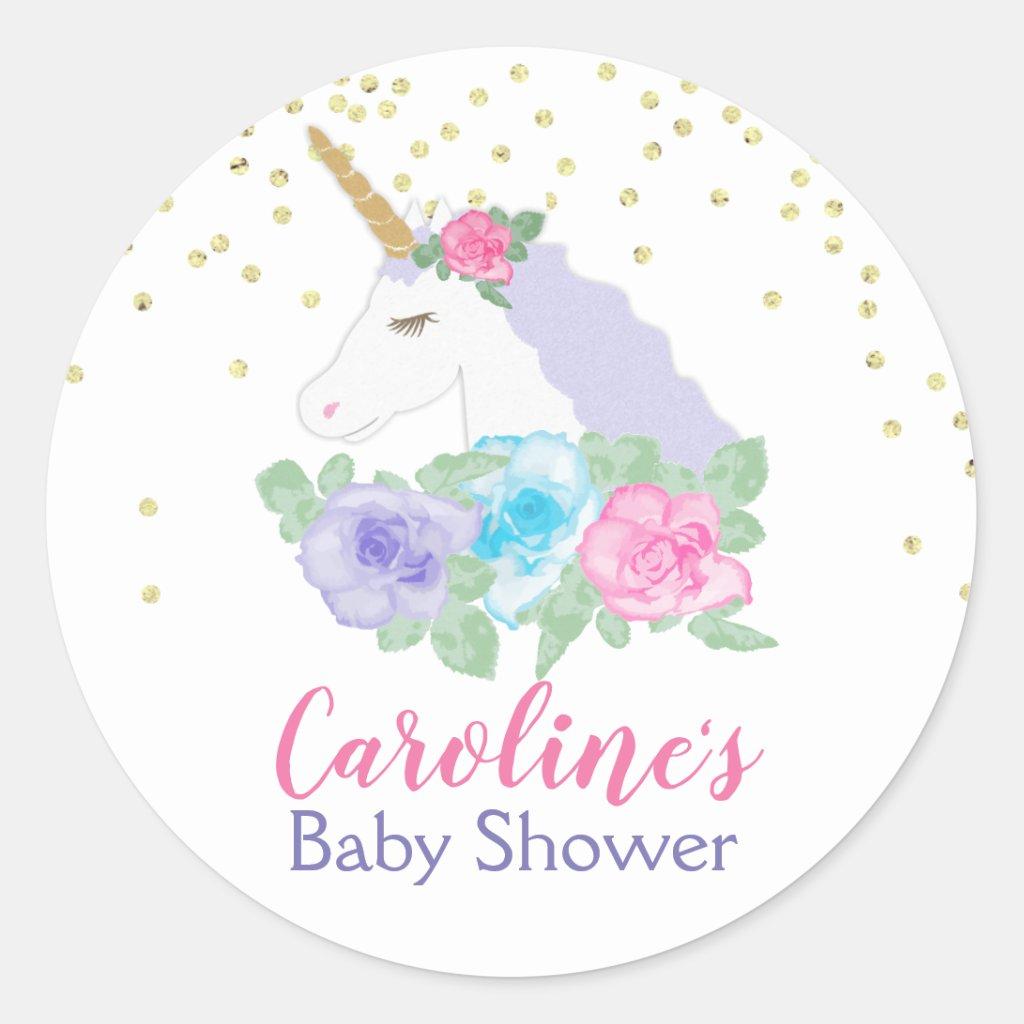 Unicorn Pink & Gold Baby Shower Classic Round Stic Classic Round Sticker