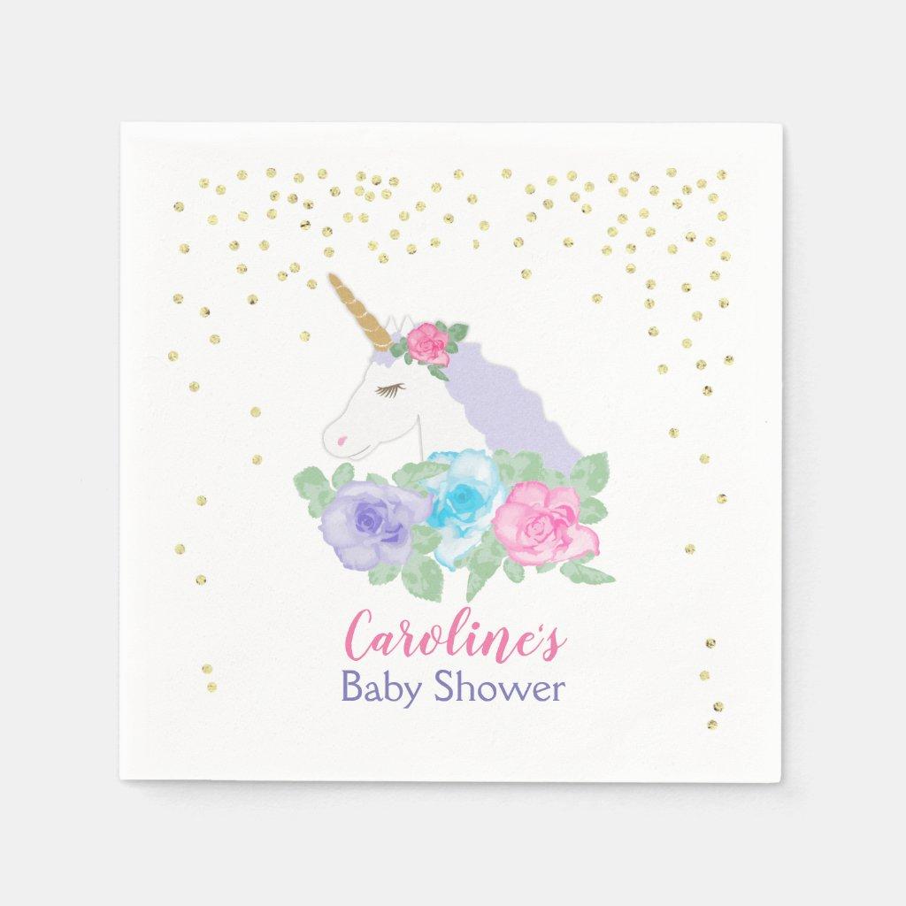 Unicorn Pink & Gold Baby Shower Paper Napkin