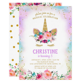 Unicorn Pink Gold Beautiful Floral Birthday Party Card