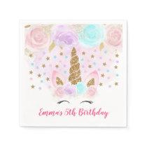 Unicorn Pink & Gold Birthday Paper Napkin