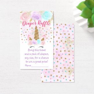Unicorn Pink & Gold Diaper Raffle Tickets