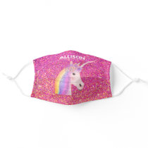 Unicorn Pink Gold Glitter Ombre Sparkle Customized Cloth Face Mask