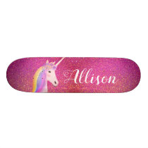 Unicorn Pink Gold Glitter Sparkles Personalized Skateboard