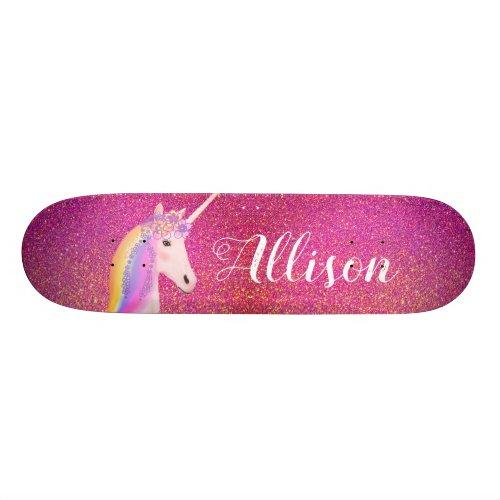 Unicorn Pink Gold Glitter Sparkles Personalized Skateboard