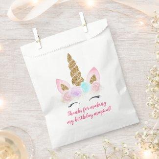 Unicorn Pink & Gold Magical Birthday Favor Bag