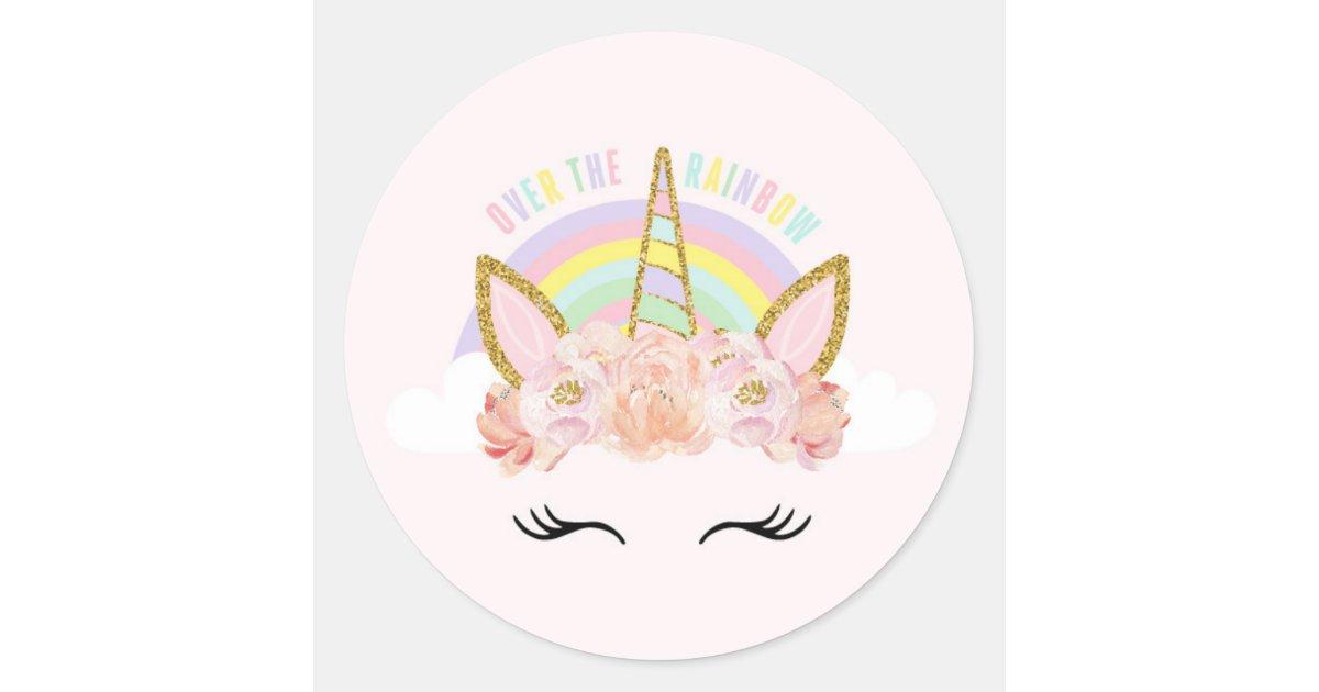 Unicorn Pink Amp Gold Party Favor Tag Sticker Seal Zazzle Com
