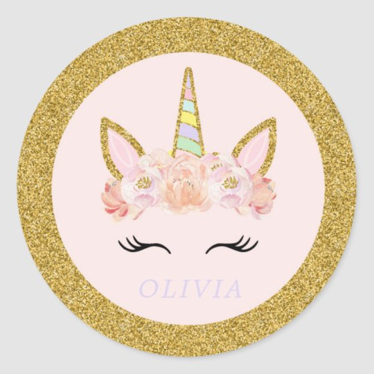 Unicorn Pink Amp Gold Party Favor Tag Sticker Seal Zazzle Com