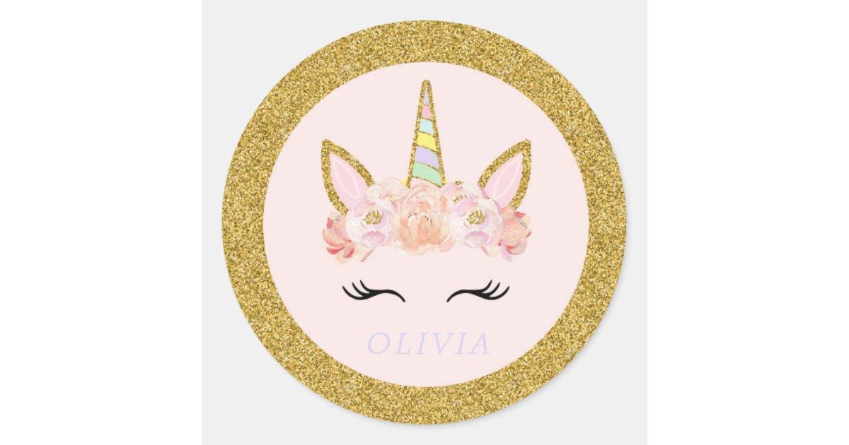 Unicorn Pink & Gold Party Favor Tag Sticker Seal | Zazzle.com