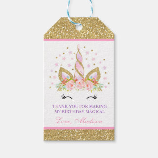 Unicorn Pink & Gold Party Favor Thank You Tag