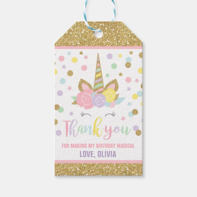 Unicorn Pink Amp Gold Party Favor Thank You Tag Zazzle Com