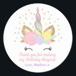 """Unicorn Pink &amp; Gold Party Favour Tag Sticker Seal<br><div class=""""desc"""">Pink And Gold Rainbow Unicorn Round Favour Tag.  Add your own personalised text perfect to coordinating with items from the unicorn collection found in our store! All design are &#169; PIXELPERFECTIONPARTYLTD</div>"""