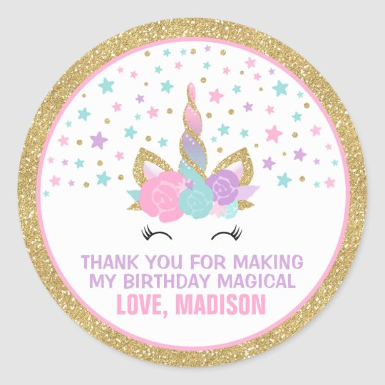 Unicorn Pink Amp Gold Party Favour Tag Sticker Seal Zazzle Com