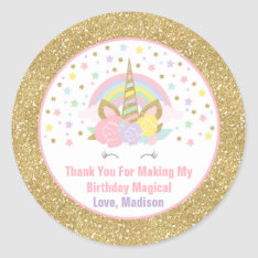 Unicorn Pink & Gold  Party Favour Tag Sticker Seal at Zazzle