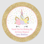 "Unicorn Pink &amp; Gold Party Favour Tag Sticker Seal<br><div class=""desc"">Pink And Gold Rainbow Unicorn Round Favour Tag. Add your own personalised text perfect to coordinating with items from the unicorn collection found in our store!
