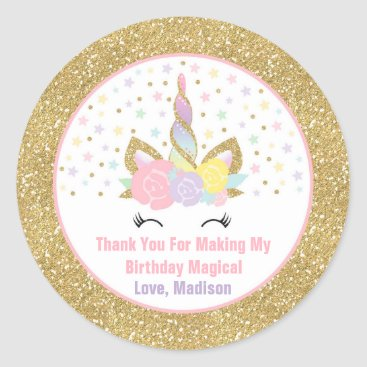 PixelPerfectionParty Unicorn Pink & Gold Party Favour Tag Sticker Seal