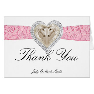 Unicorn Pink Lace Thank You Card