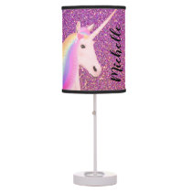 Unicorn Pink Ombre Glitter Table Lamp
