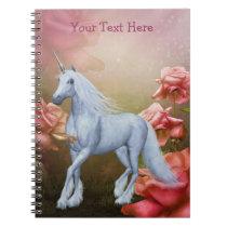 Unicorn Pink Roses Fantasy Horse Notebook
