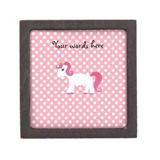 Unicorn pink white polka dots keepsake box