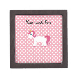 Unicorn pink white polka dots premium jewelry boxes