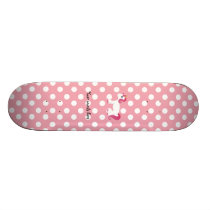Unicorn pink white polka dots skateboard deck
