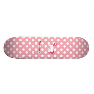 Unicorn pink white polka dots skateboard deck