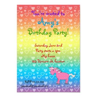 Unicorn pink with stars 4.5x6.25 paper invitation card
