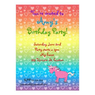Unicorn pink with stars custom invitations