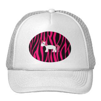 Unicorn pink zebra stripes mesh hat