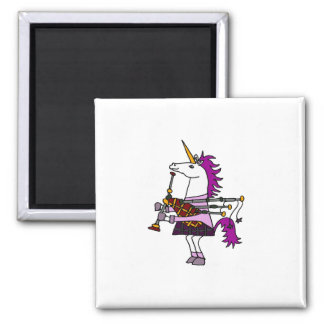 Unicorn Playing Bagpipes 2 Inch Square Magnet