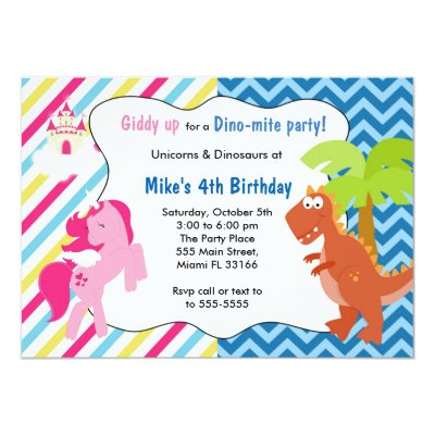 Unicorn Dinosaur Joint Boy Girl Birthday Invites