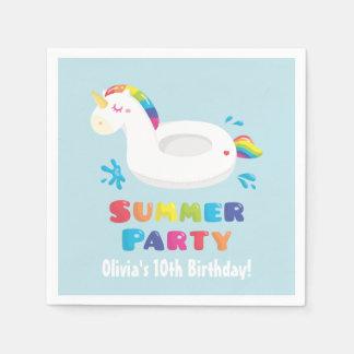 Unicorn Pool Float Summer Birthday Party Napkins