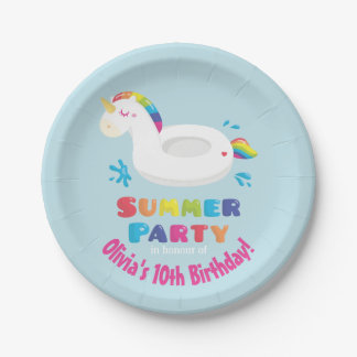 Unicorn Pool Float Summer Birthday Party Supplies Paper Plate