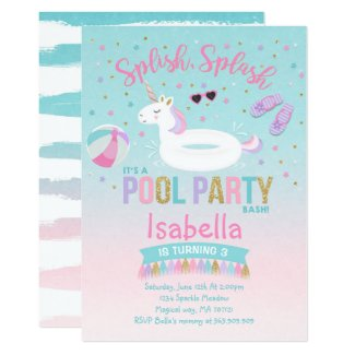 Unicorn Pool Party Birthday Invitation Pink Gold