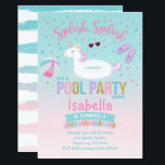 "Unicorn Pool Party Birthday Invitation Pink Gold<br><div class=""desc"">Unicorn Pool Party Birthday Invitation. A perfect Way to announce your Magical Unicorn party!</div>"