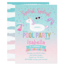 Unicorn Pool Party Birthday Invitation Pink Gold