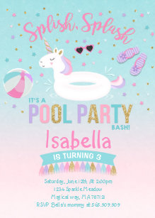 Pool party invitations zazzle unicorn pool party birthday invitation pink gold stopboris Image collections