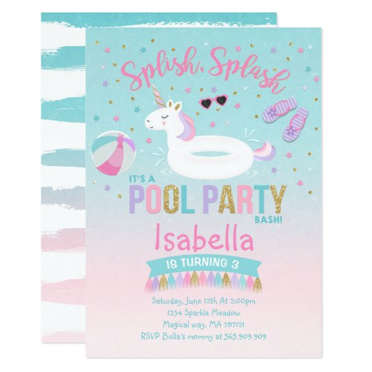 Unicorn Pool Party Birthday Invitation Pink Gold  ZazzleCom