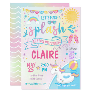 Unicorn Pool Party Invitation Bash Birthday