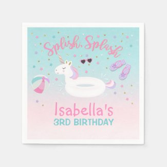 Unicorn Pool Party Napkin Birthday Invitation Pink