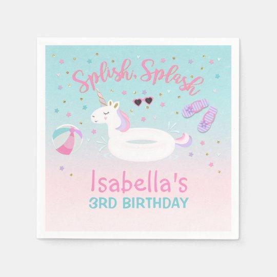 Unicorn Pool Party Napkin Birthday Invitation Pink