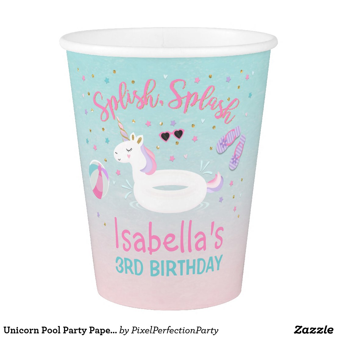 Unicorn Pool Party Paper Cup Pink Gold Cup