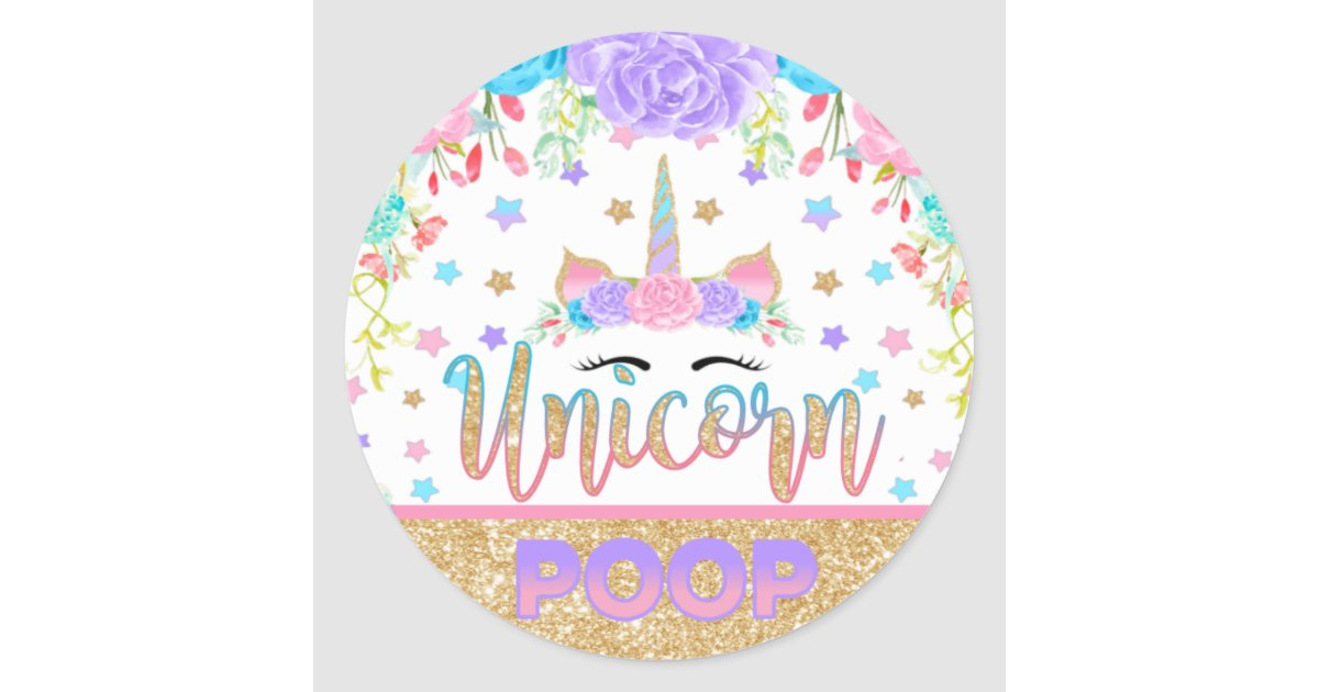 Unicorn poop sticker unicorn birthday party favor zazzle com
