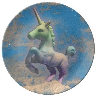 Unicorn Porcelain Plate Decor (Sandy Blue)
