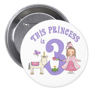 Unicorn Princess 3rd Birthday Pinback Button