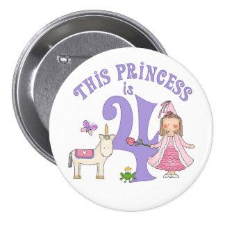 Unicorn Princess  4th Birthday 3 Inch Round Button