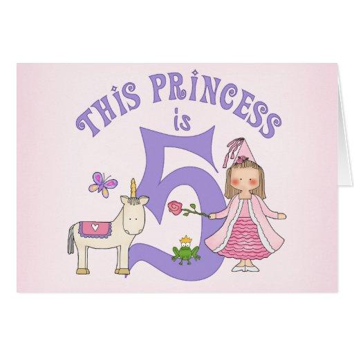 Unicorn Princess 5th Birthday Inviitation Cards
